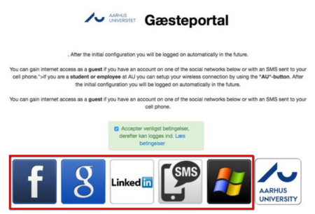 AU's wireless network guest portal. Use one of the options marked above to log in.